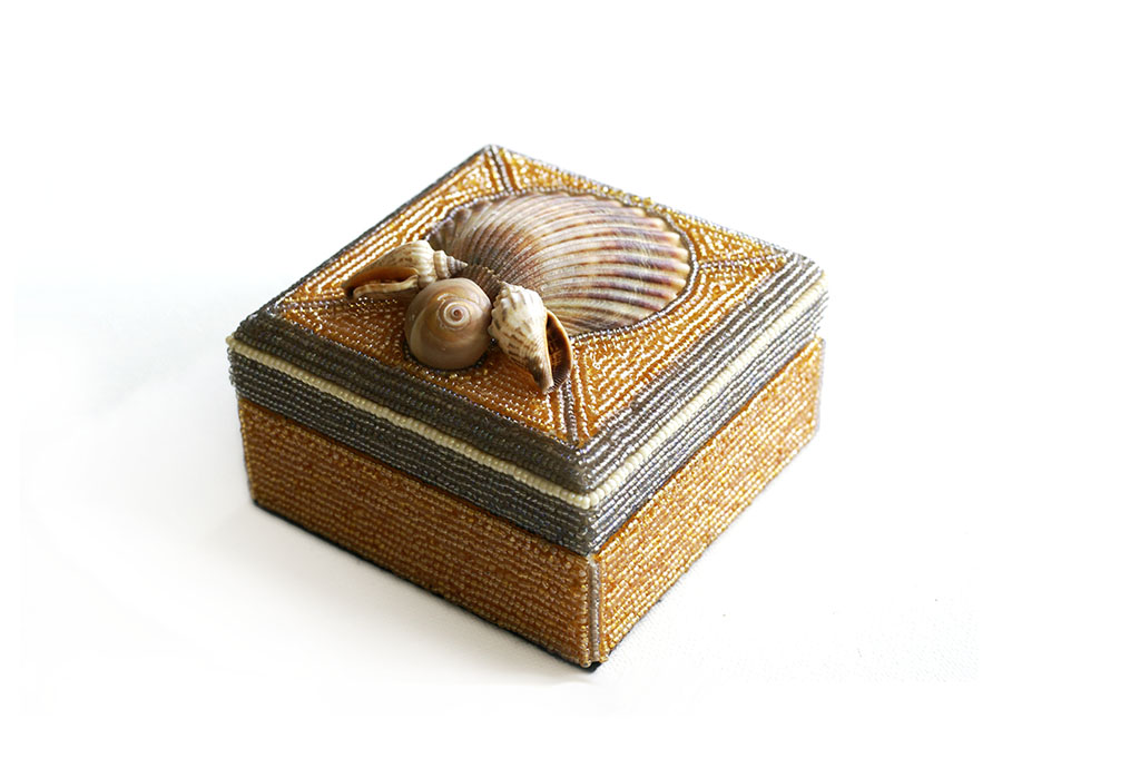 Orange Bead and Shell Box